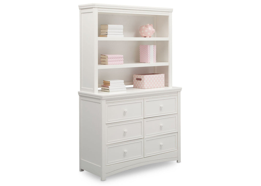 Delta Children White Ambiance (108) Lindsey 6 Drawer Dresser and Lindsey Bookcase/Hutch, Angled View a5a
