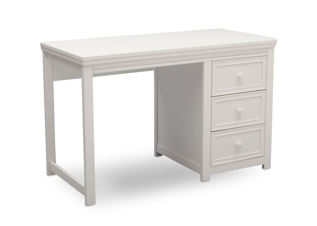 Delta Children White Ambiance (108) Lindsey Desk, Angled View, a3a