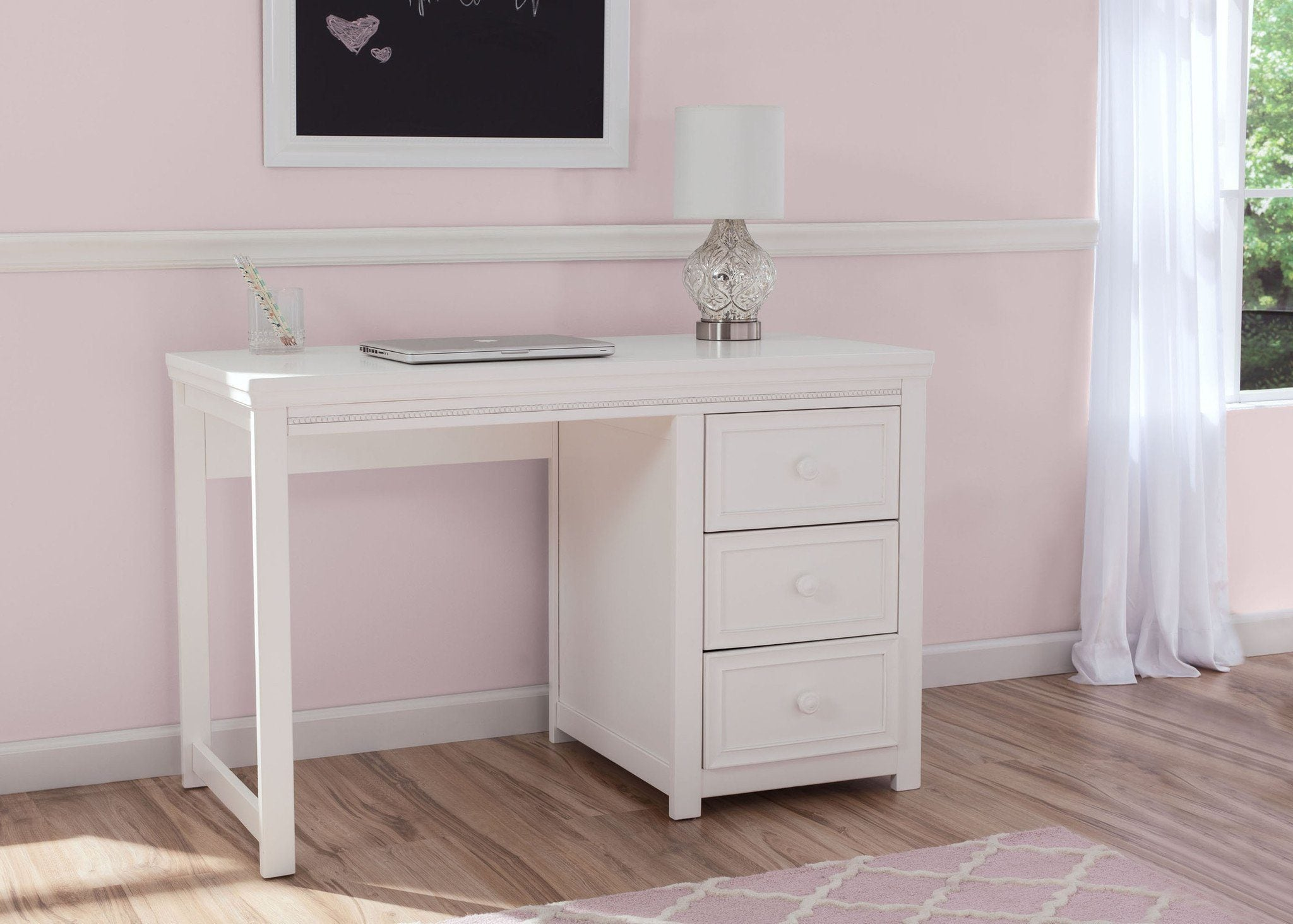 Delta Children White Ambiance (108) Lindsey Desk, Room View, a1a