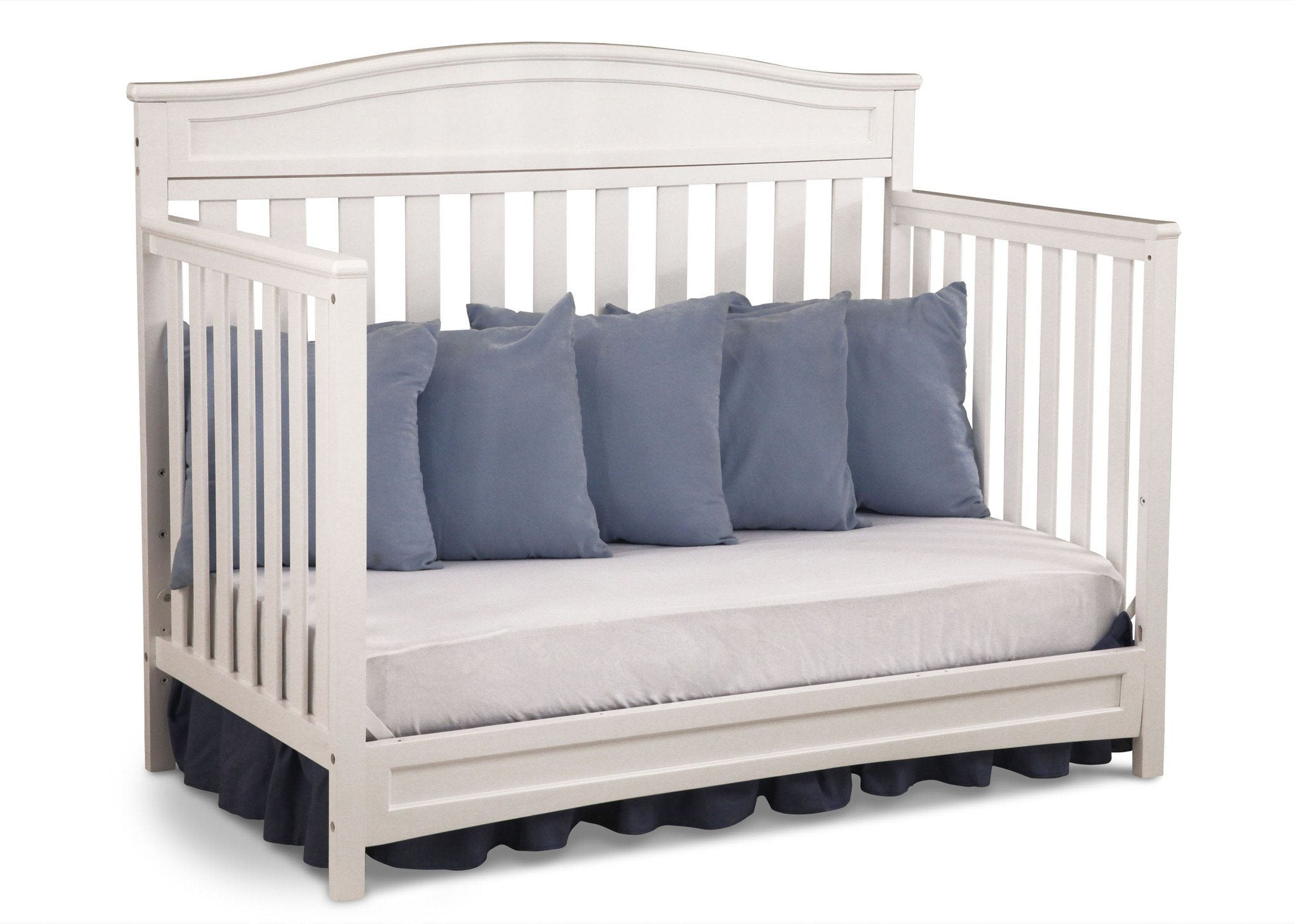 Delta Children White (100) Essington 4-in-1 Crib angled conversion to daybed a5a