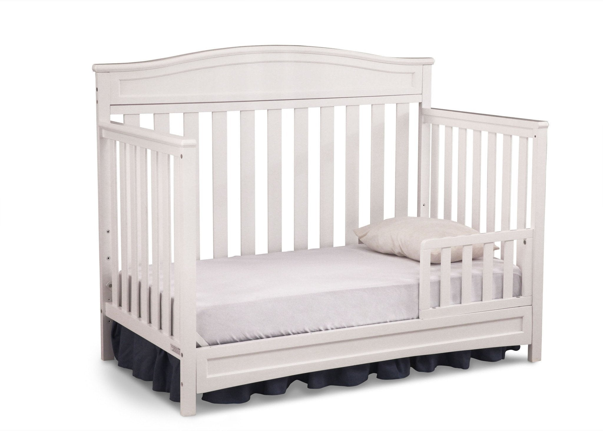 Delta Children White (100) Essington 4-in-1 Crib angled conversion to toddler bed a4a