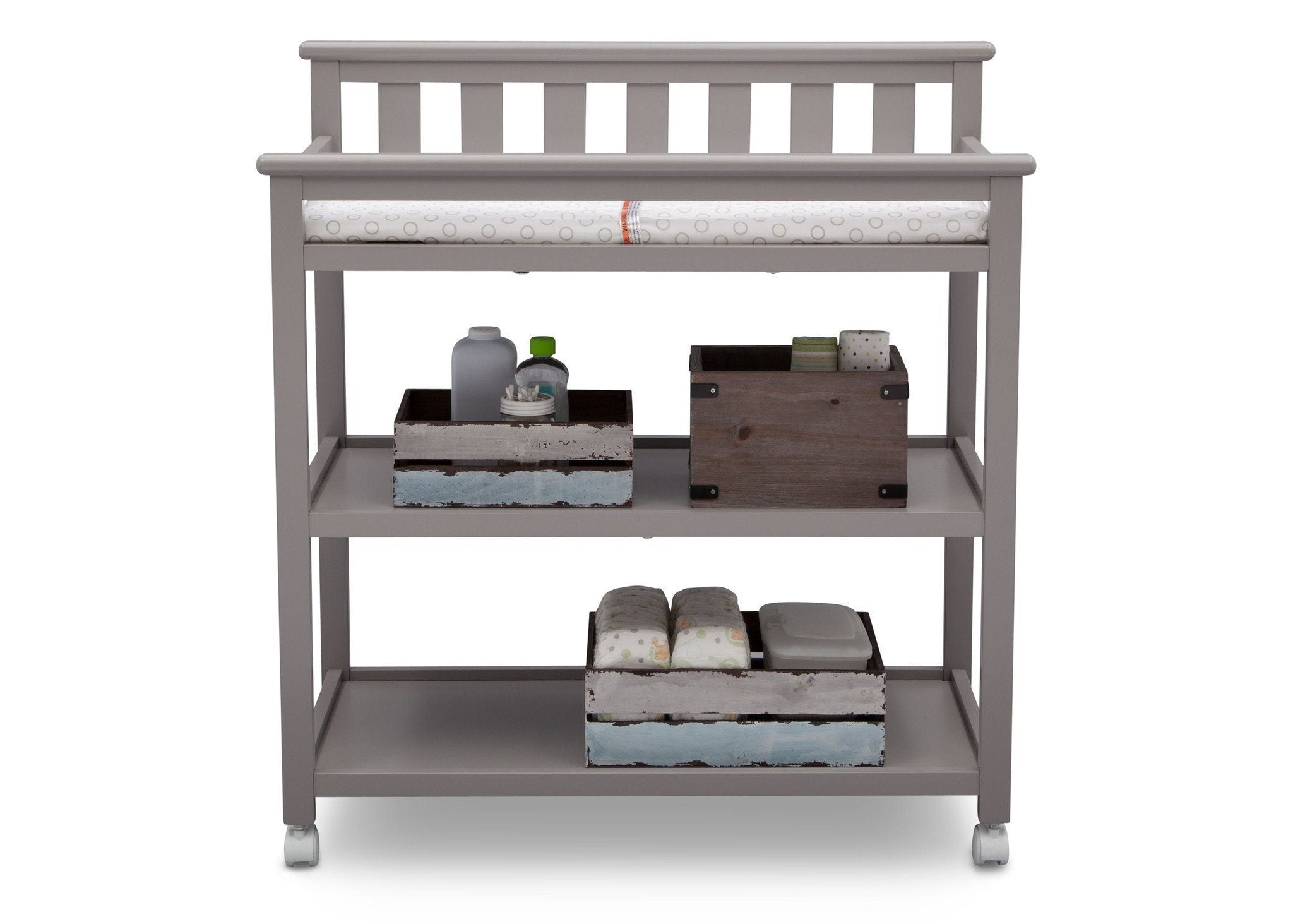 Delta Children Grey (026) Liberty Changing Table Front View a2a