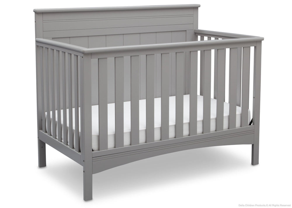 Delta Children Grey (026) Fancy 4-in-1 Crib Side View, Crib Conversion b3b