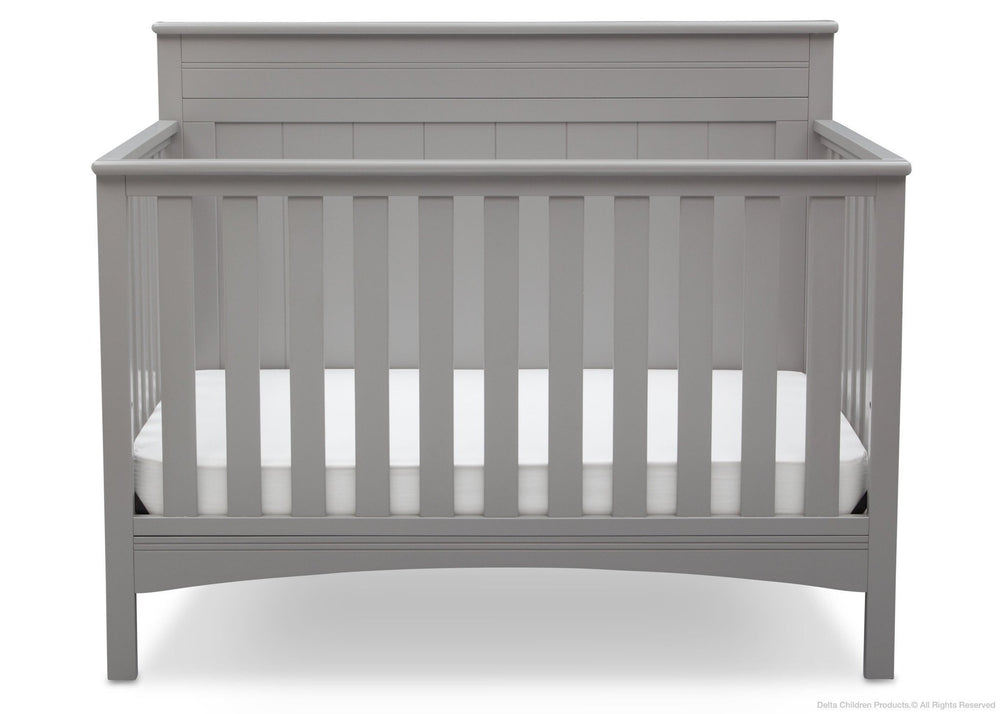 Delta Children Grey (026) Fancy 4-in-1 Crib Front View, Crib Conversion b2b