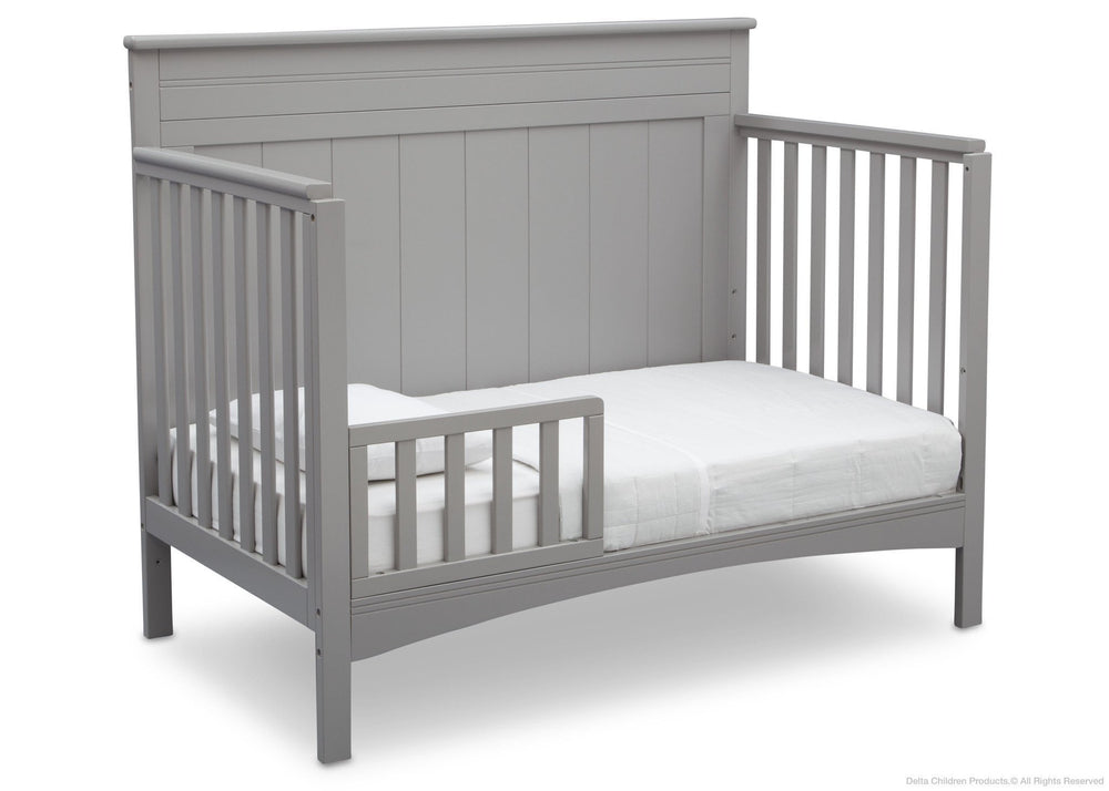 Delta Children Grey (026) Fancy 4-in-1 Crib Side View, Toddler Bed Conversion with Toddler Guardrail b5b