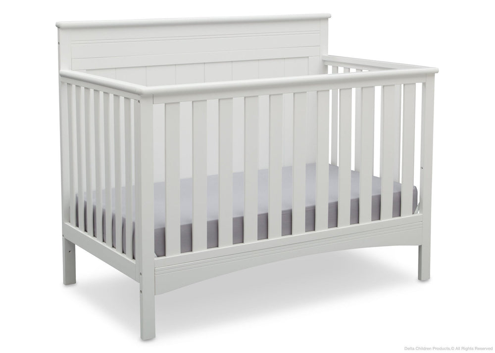 Delta Children Bianca (130) Fancy 4-in-1 Crib Side View, Crib Conversion a4a