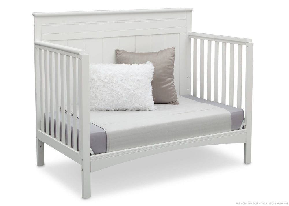 Delta Children White (130) Fancy 4-in-1 Crib Side View, Day Bed Conversion a6a
