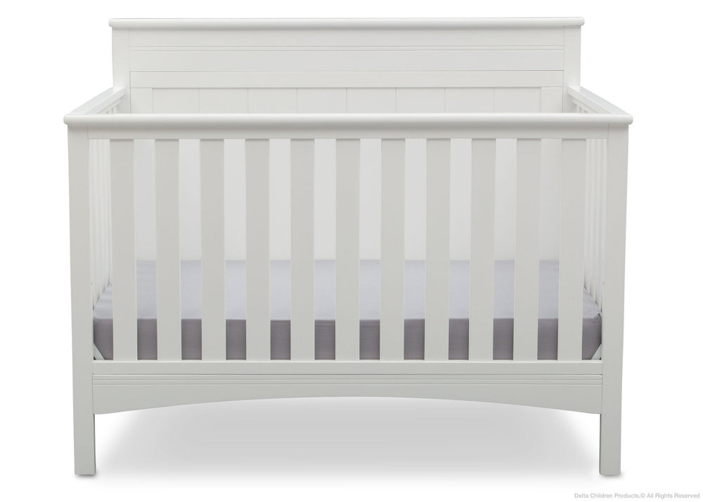 Delta Children Bianca (130) Fancy 4-in-1 Crib Front View, Crib Conversion a3a