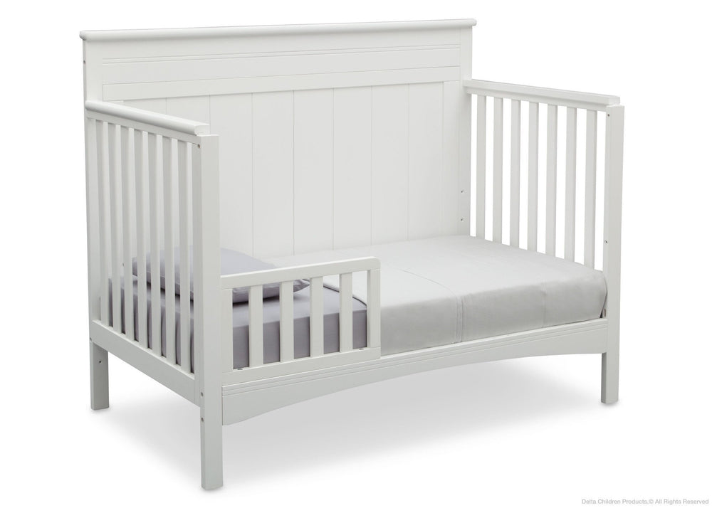 Delta Children Bianca (130) Fancy 4-in-1 Crib Side View, Toddler Bed Conversion with Toddler Guardrail a5a