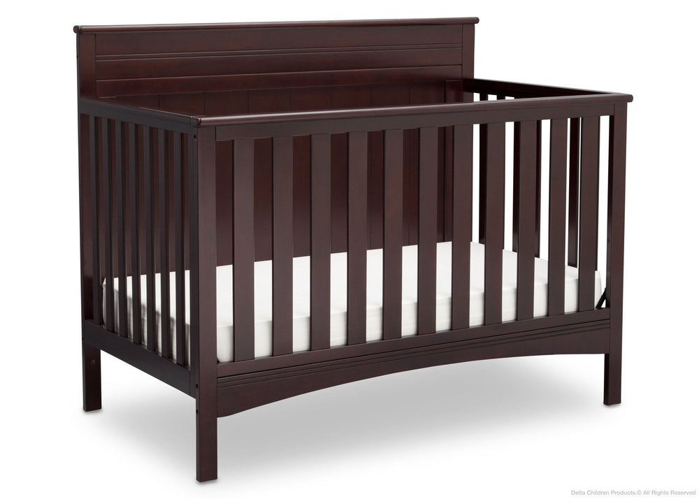 Delta Children Dark Chocolate (207) Fancy 4-in-1 Crib Side View, Crib Conversion c3c