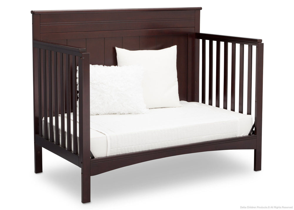 Delta Children Dark Chocolate (207) Fancy 4-in-1 Crib Side View, Day Bed Conversion c4c