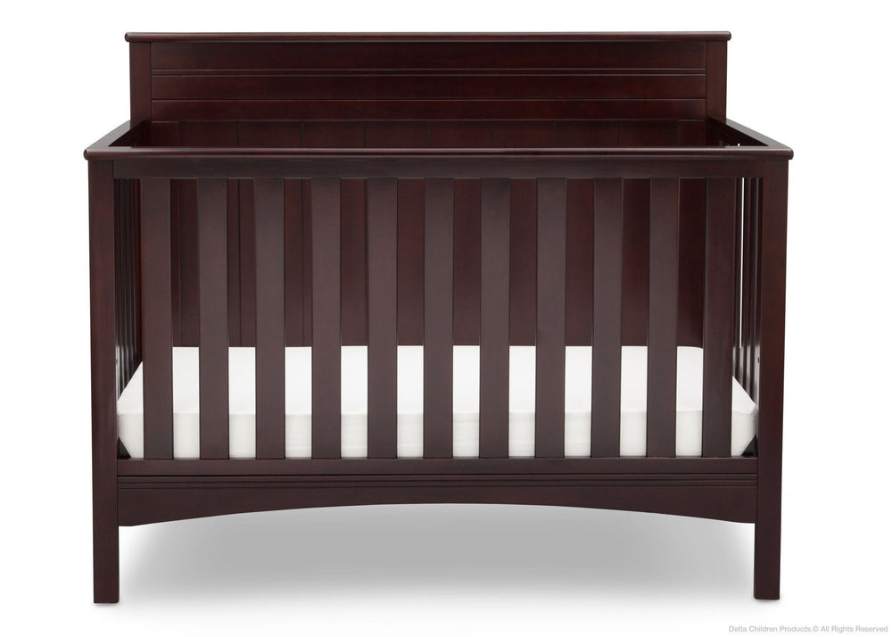 Delta Children Dark Chocolate (207) Fancy 4-in-1 Crib Front View, Crib Conversion c2c