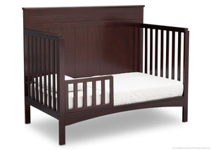 Delta Children Dark Chocolate (207) Fancy 4-in-1 Crib Side View, Toddler Bed Conversion with Toddler Guardrail c5c