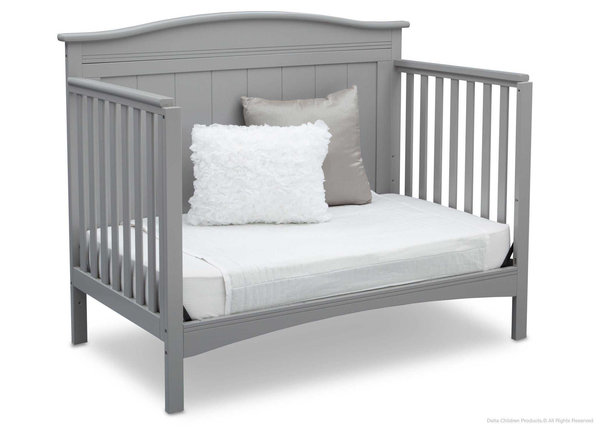 Delta Children Grey (026) Bennett 4-in-1 Crib Daybed Conversion Side View a5a