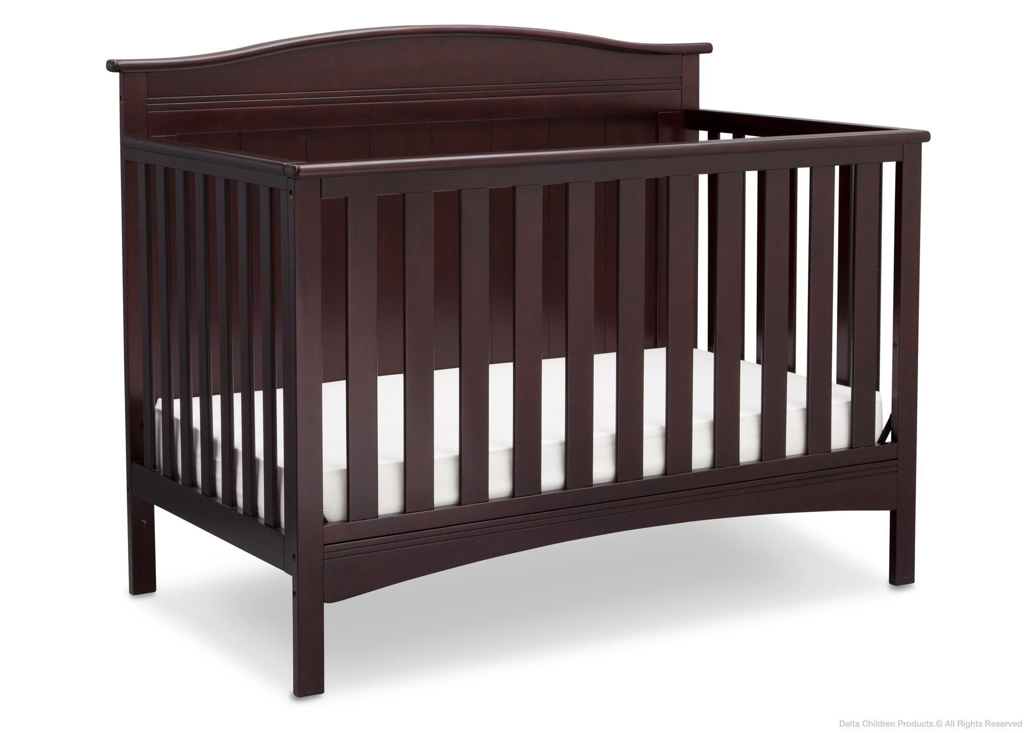 Delta Children Dark Chocolate (207) Bennett 4-in-1 Crib Side View c3c