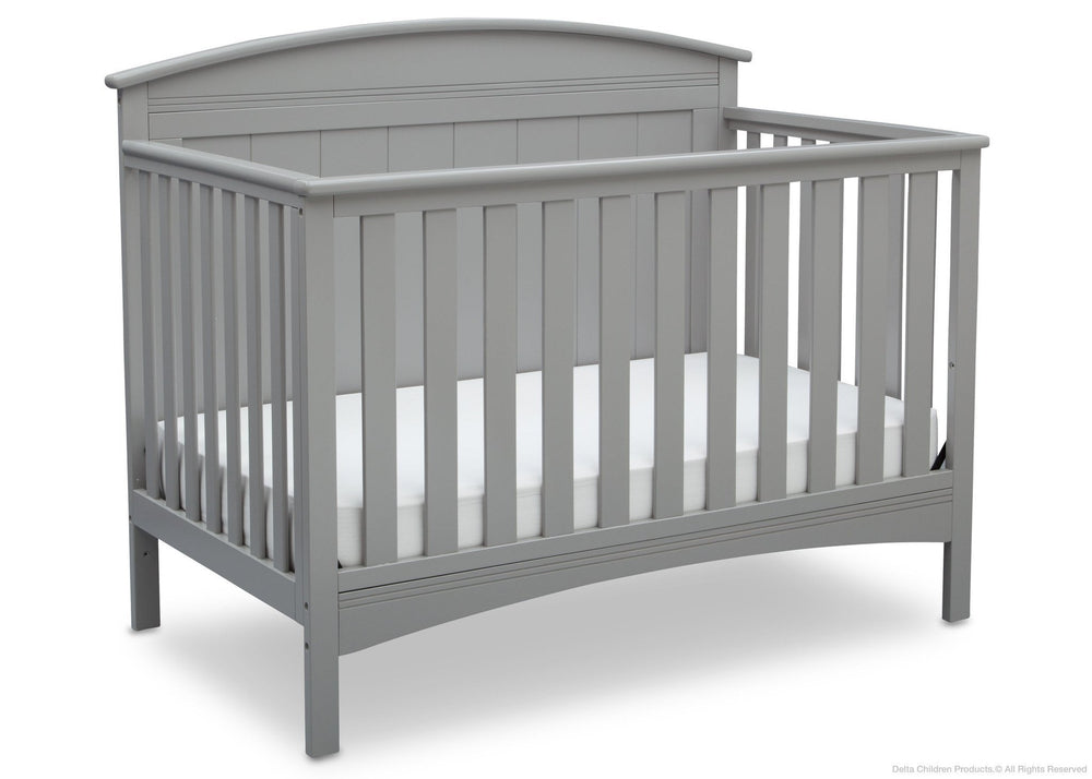 Delta Children Grey (026) Archer 4-in-1 Crib,  angled view, a3a