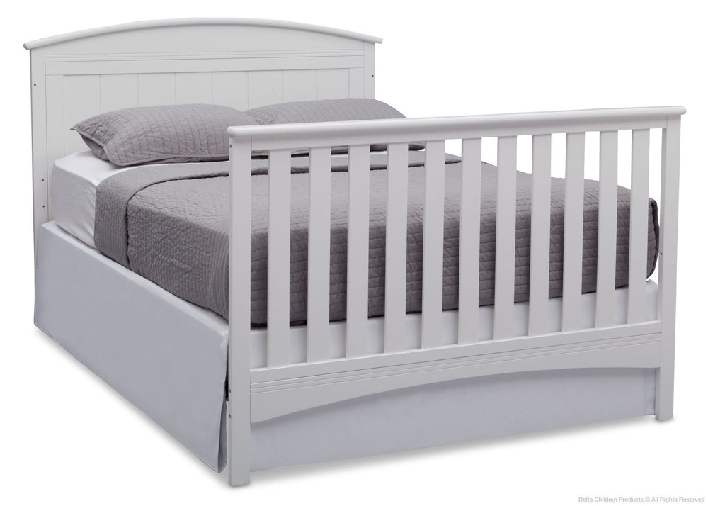 Delta Children Bianca (130) Archer 4-in-1 Crib. angled conversion to full size bed, b6b