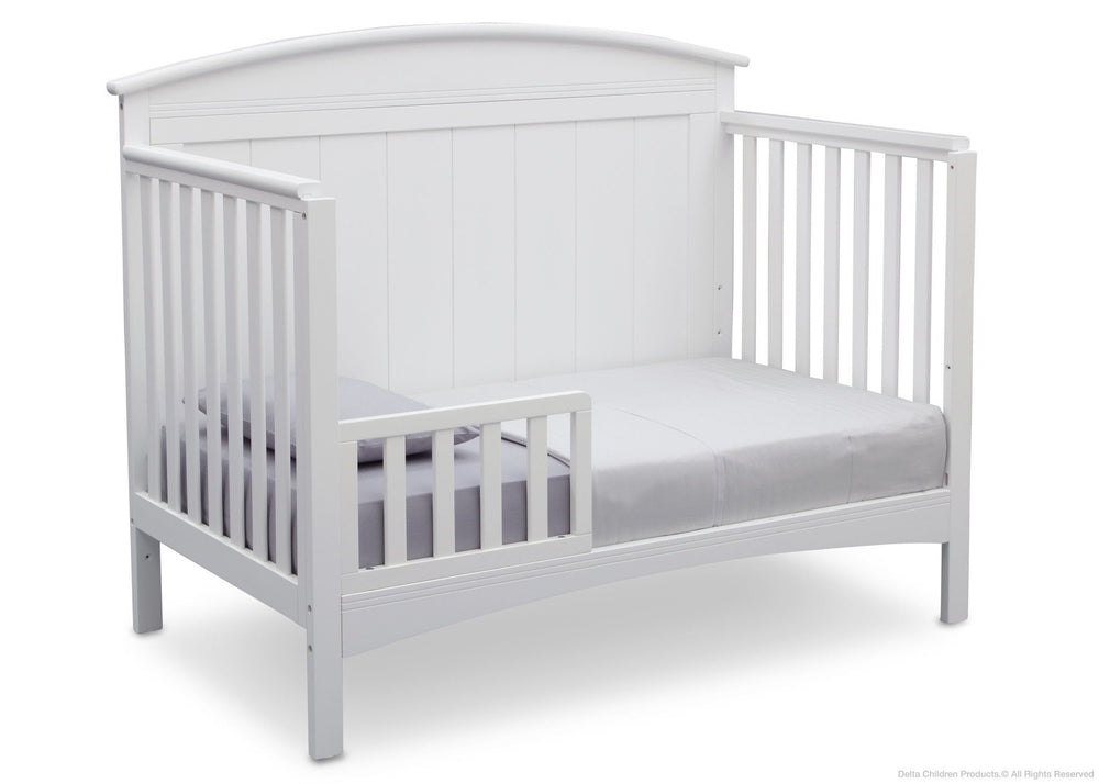 Delta Children Bianca (130) Archer 4-in-1 Crib, angled conversion to toddler bed, b4b