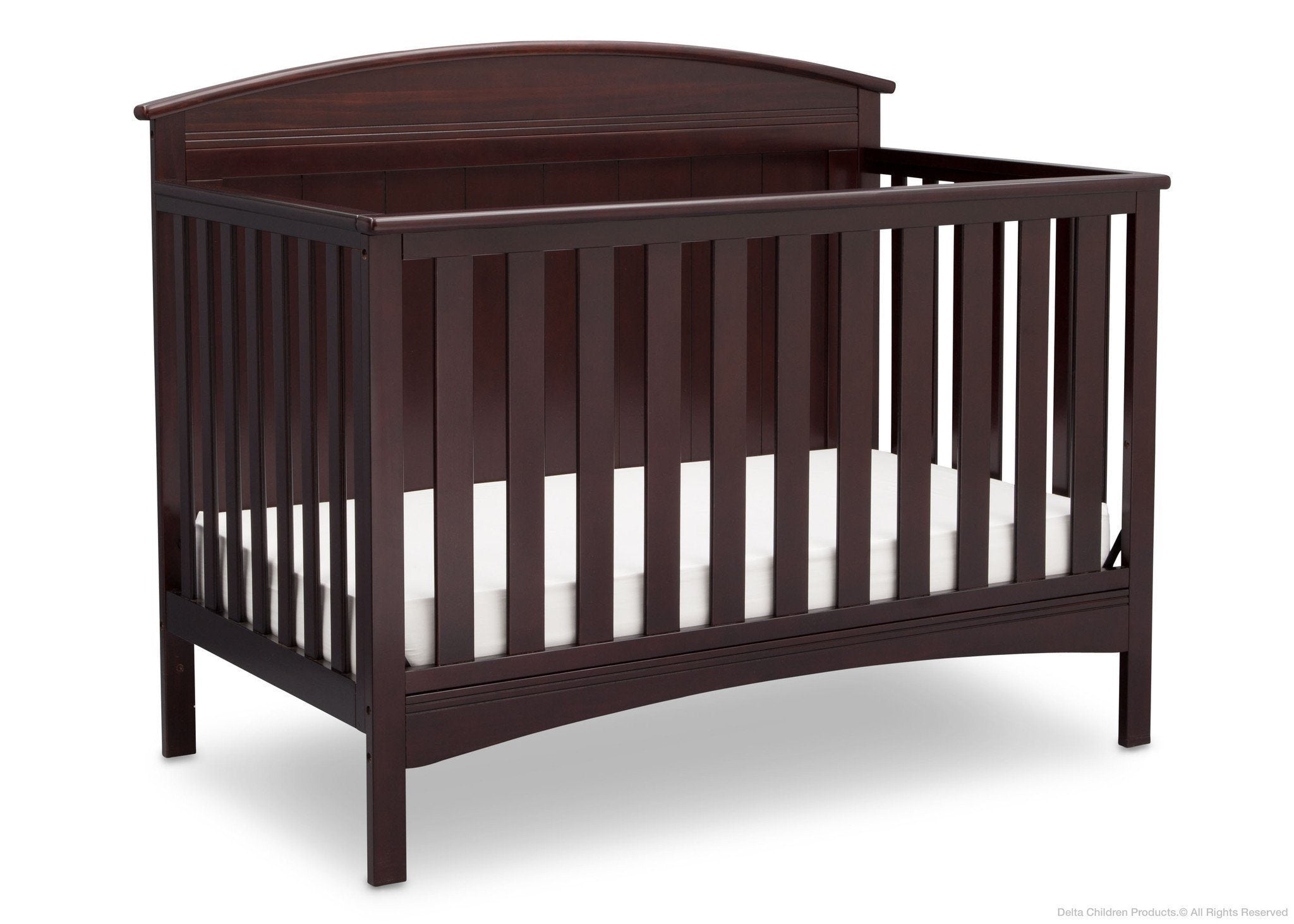 Delta Children Dark Chocolate (207) Archer 4-in-1 Crib Side View c3c
