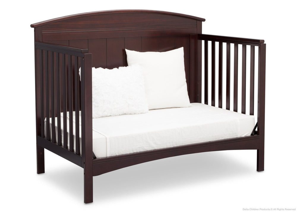 Delta Children Dark Chocolate (207) Archer 4-in-1 Crib, angled conversion to toddler bed, c4c