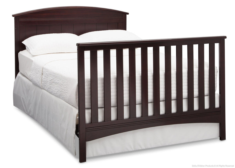 Delta Children Dark Chocolate (207) Archer 4-in-1 Crib, angled conversion to full size bed, c6c