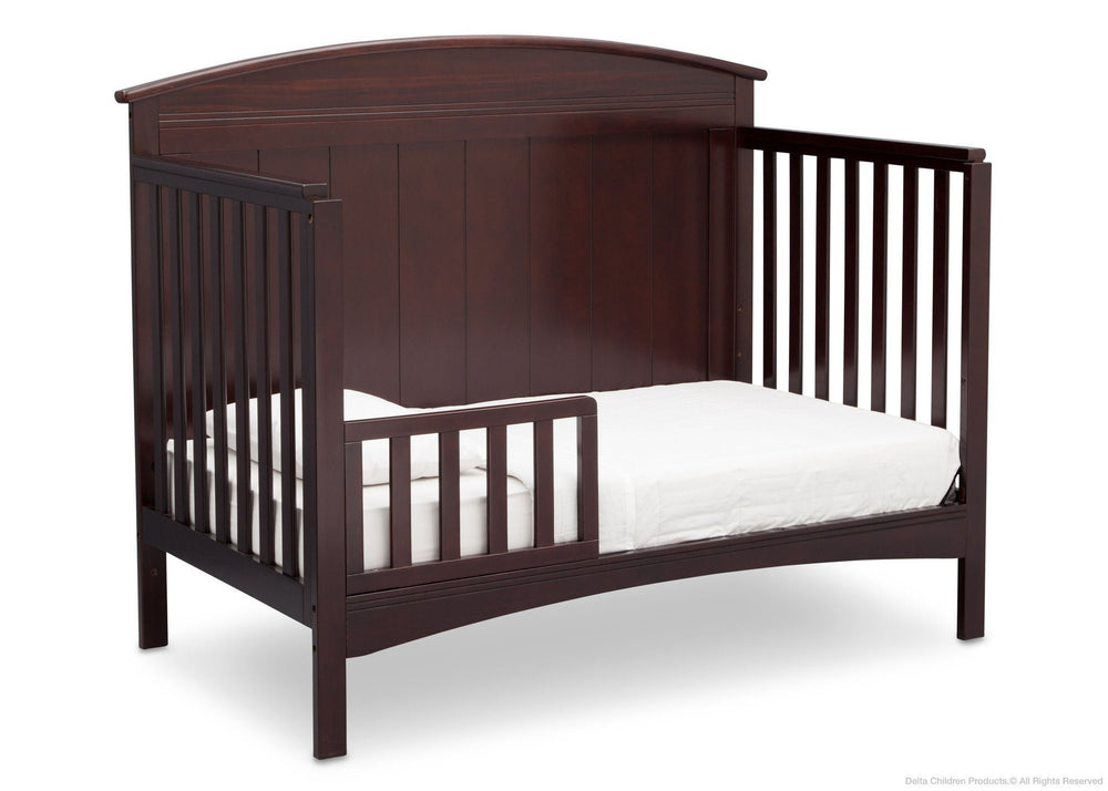 Delta Children Dark Chocolate (207) Archer 4-in-1 Crib, angled conversion to toddler bed c5c