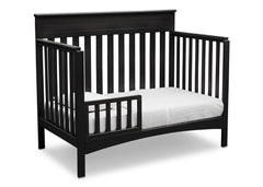 Delta Children Black (001) Fabio 4-in-1 Crib, Right View with Toddler Guardrail a3a