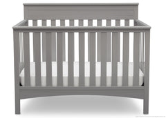 Delta Children Grey (026) Fabio 4-in-1 Crib Front View, Crib Conversion c2c