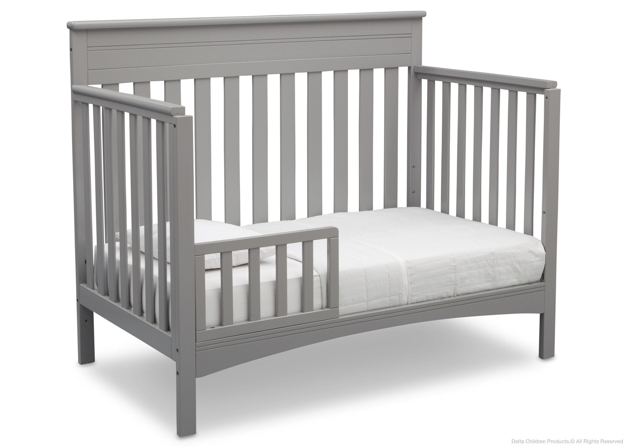 Delta Children Grey (026) Fabio 4-in-1 Crib Side View, Toddler Bed Conversion with Toddler Guardrail c4c
