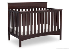 Delta Children Dark Chocolate (207) Fabio 4-in-1 Crib Side View, Crib Conversion d3d