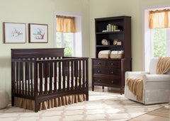 Delta Children Dark Chocolate (207) Fabio 4-in-1 Crib Side View with Props 1 d1d