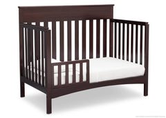 Delta Children Dark Chocolate (207) Fabio 4-in-1 Crib Side View, Toddler Bed Conversion with Toddler Guardrail d4d