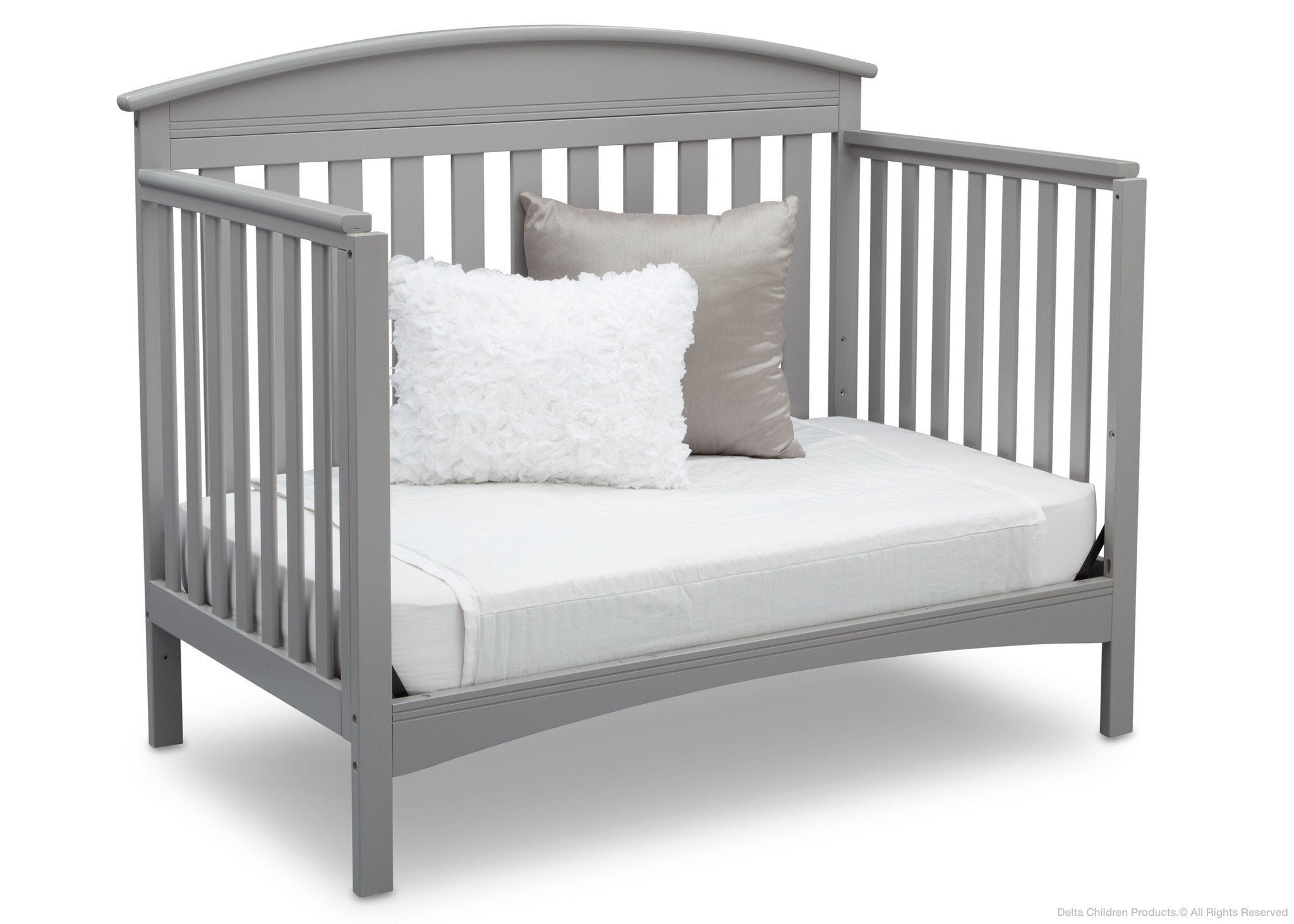 Delta Children Grey (026) Abby 4-in-1 Crib Daybed Conversion Side View a4a