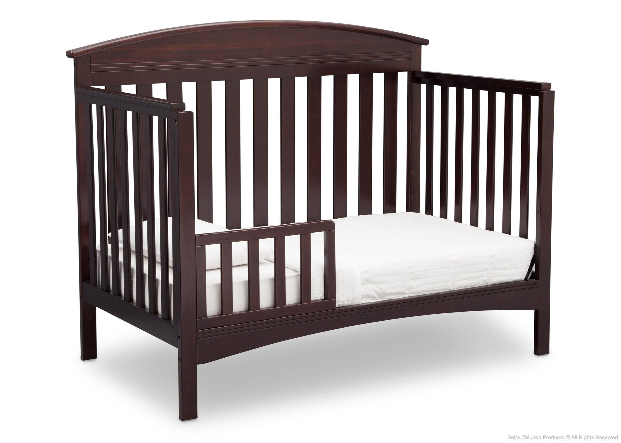Delta Children Dark Chocolate (207) Abby 4-in-1 Crib Toddler Bed Conversion Side View c4c