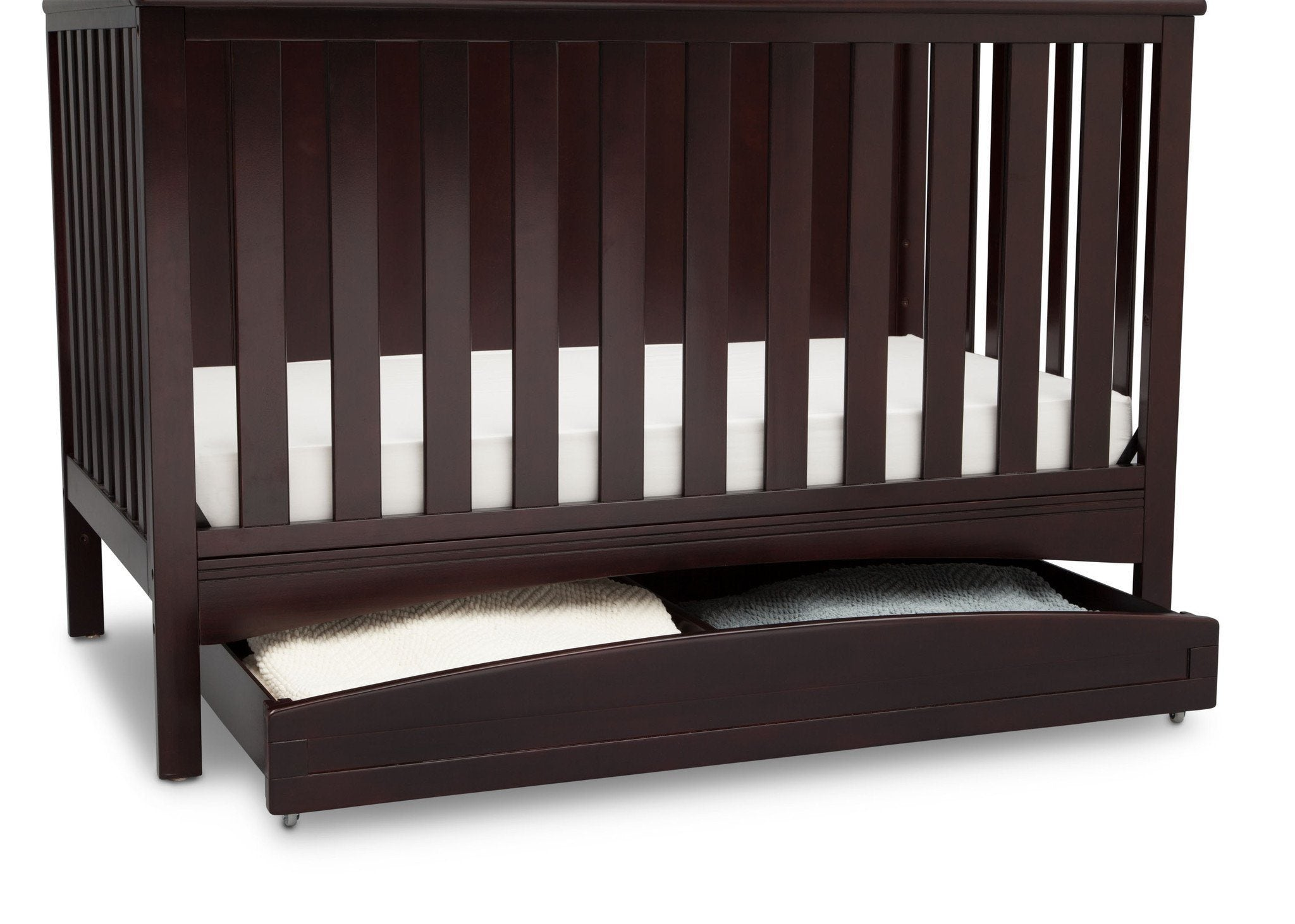 Delta Children Dark Chocolate (207) Delta Arch Trundle under Crib with Props c2c