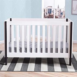 Bellevue 3-in-1 Crib (Bianca with Ebony) - bundle