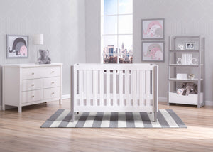 Delta Children Bianca with Grey (166) Bellevue 3-in-1 Crib, Room Shot b1b