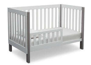 Delta Children Bianca with Grey (166) Bellevue 3-in-1 Crib, Toddler Bed Angled View b5b