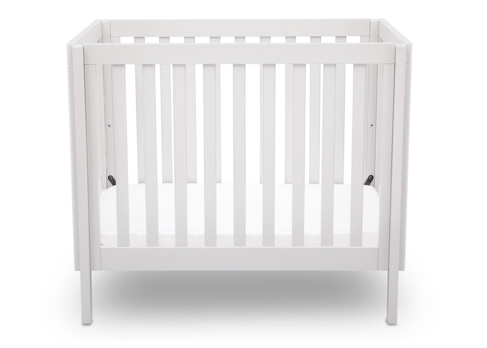 Delta Children White (130) Bennington Elite Mini Crib with Mattress, Front View, a2a