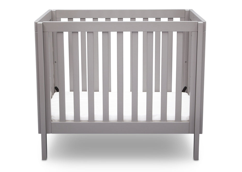 Delta Children Grey (180) Bennington Elite Mini Crib with Mattress, Front View, c2c