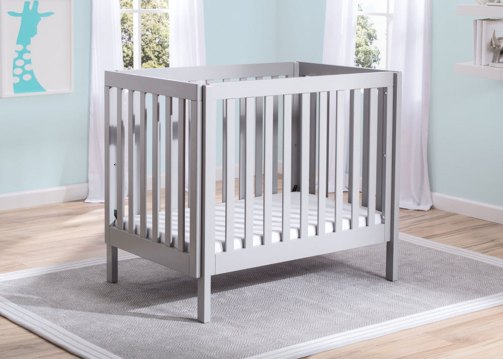 Delta Children Grey (180) Bennington Elite Mini Crib with Mattress, Hangtag