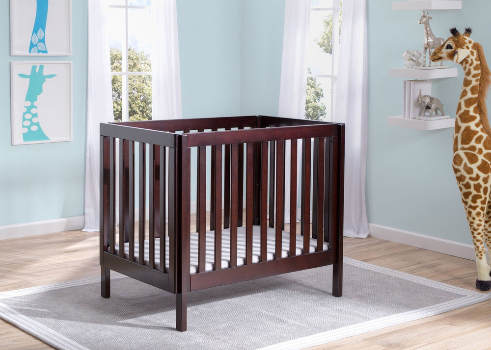 Delta Children Dark Espresso (958) Bennington Elite Mini Crib with Mattress, Hangtag