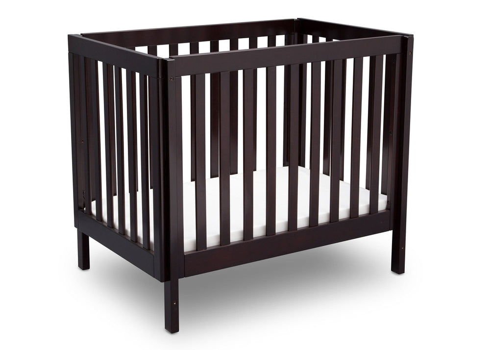 Delta Children Dark Espresso (958) Bennington Elite Mini Crib with Mattress, Angled View, b3b