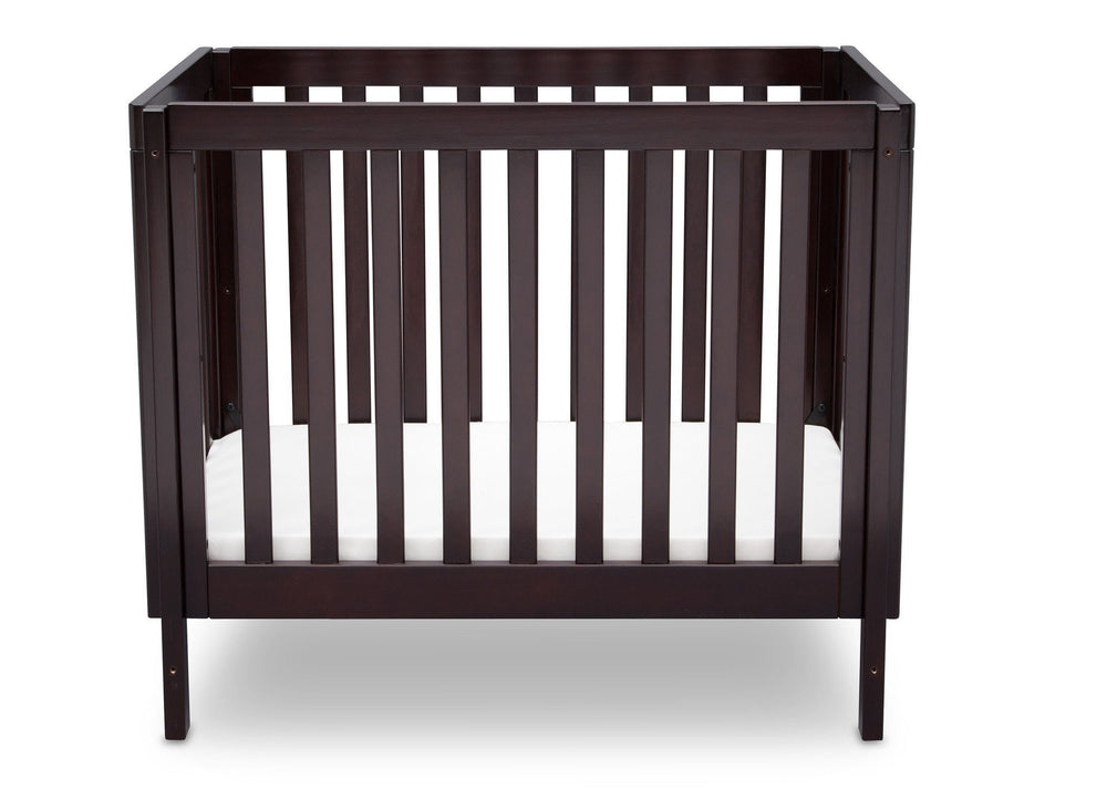 Delta Children Dark Espresso (958) Bennington Elite Mini Crib with Mattress, Front View, b2b
