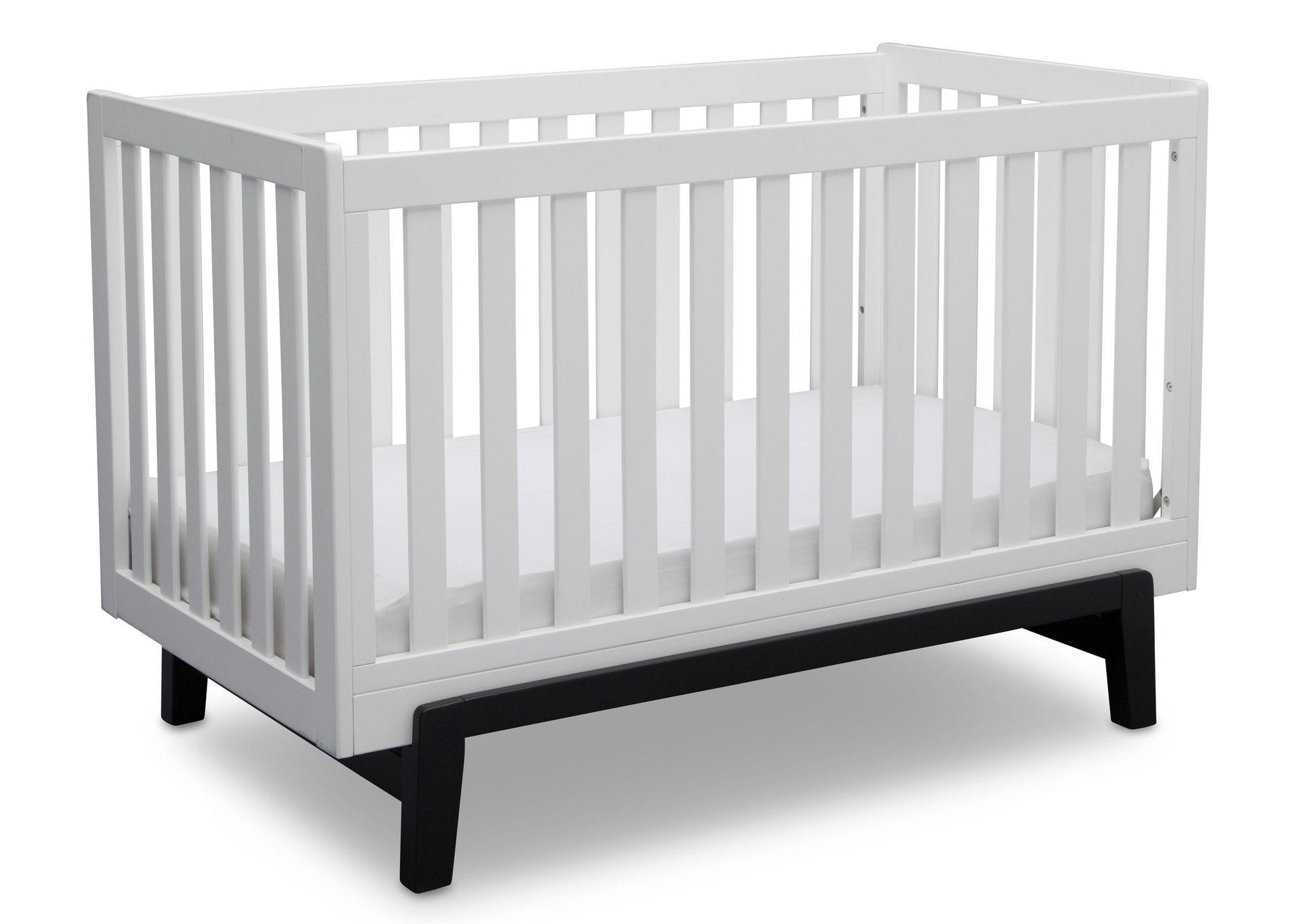 Delta Children Bianca White with Ebony (149) Aster 3-in-1 Crib, Angled Crib View a4a