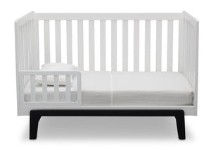 Delta Children Bianca White with Ebony (149) Aster 3-in-1 Crib, Toddler Bed Conversion