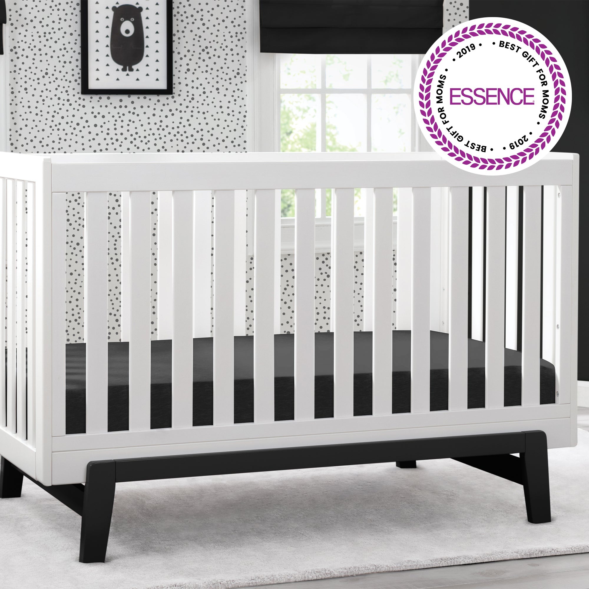 Aster 3 in 1 Crib Bianca White with Ebony 149