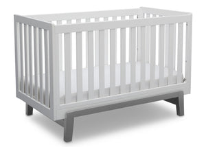 Delta Children Bianca White with Grey (166) Aster 3-in-1 Crib,  Angled Crib View b4b
