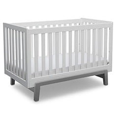 Delta Children Bianca with Grey (166) Aster 3-in-1 Crib,  Angled Crib View b4b