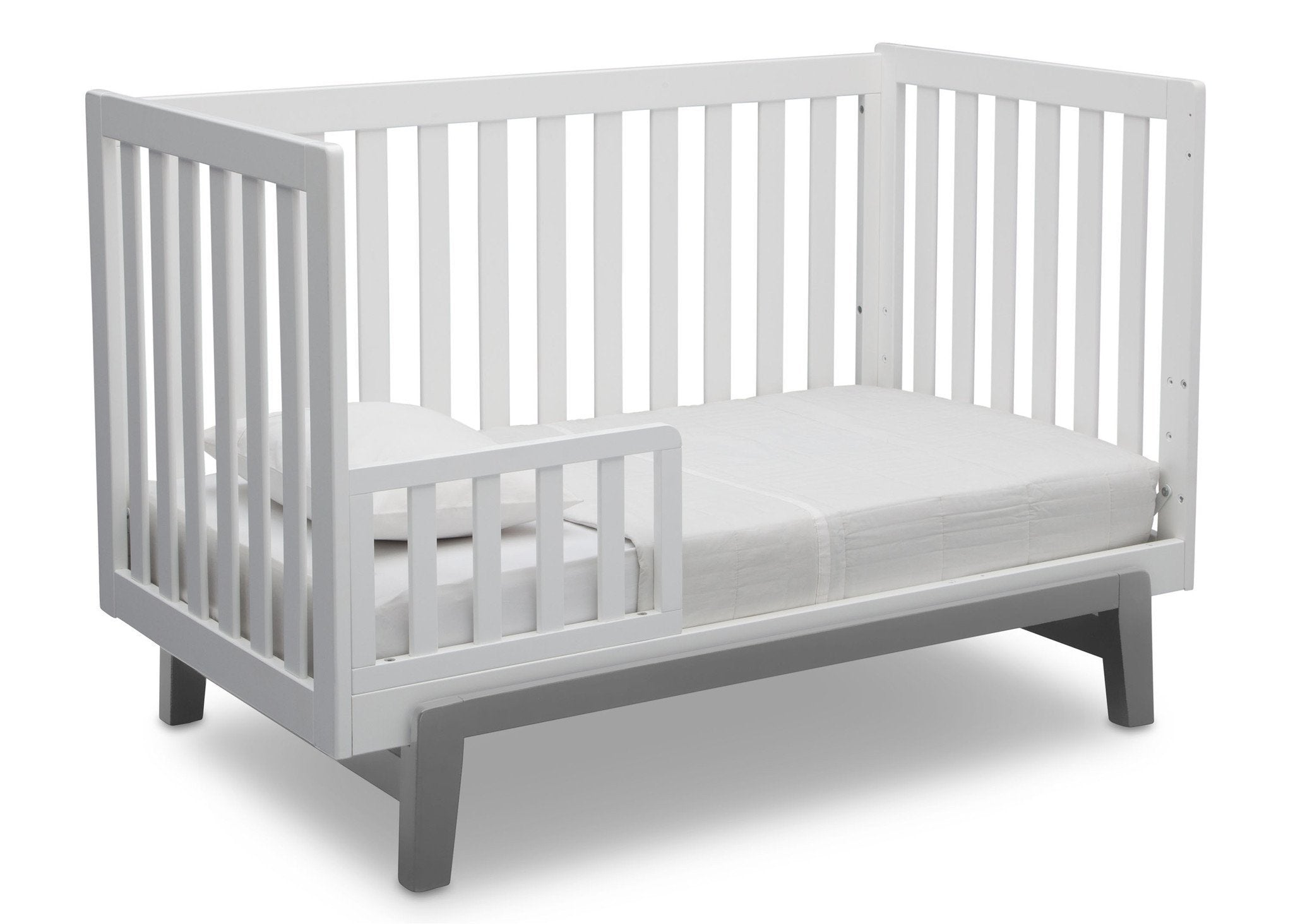 Delta Children Bianca White with Grey (166) Aster 3-in-1 Crib, Toddler Bed Conversion b6b